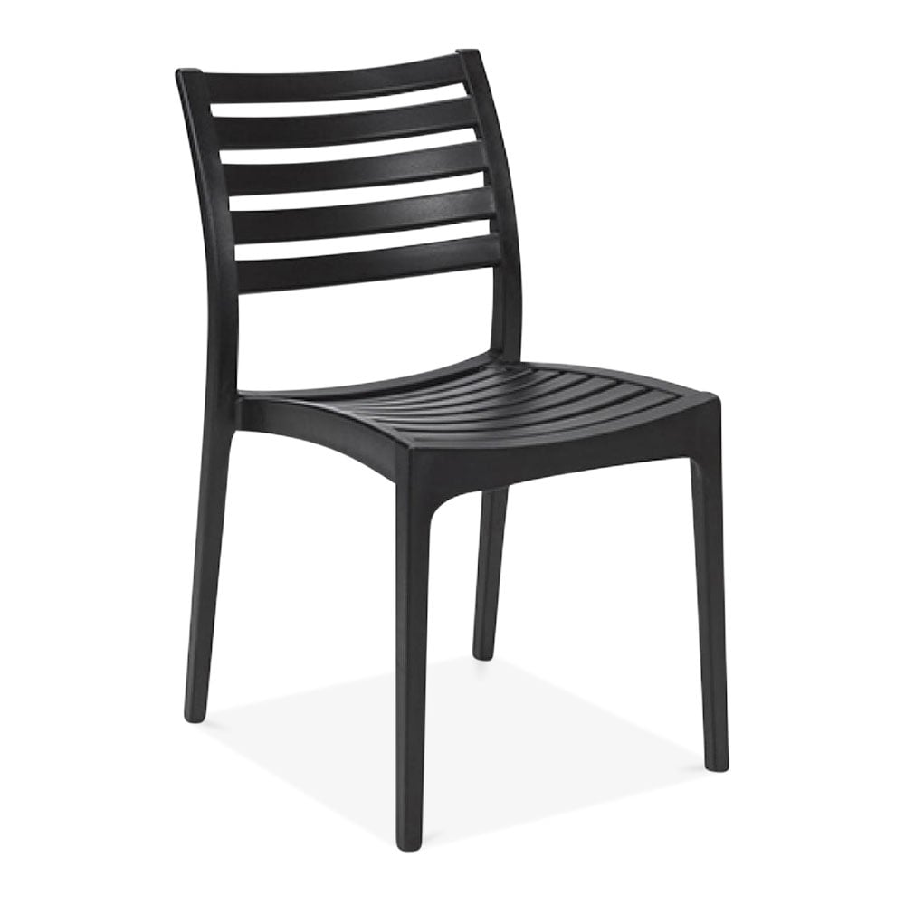 Black venice plastic outdoor dining chair patio garden for Outdoor dining chairs modern