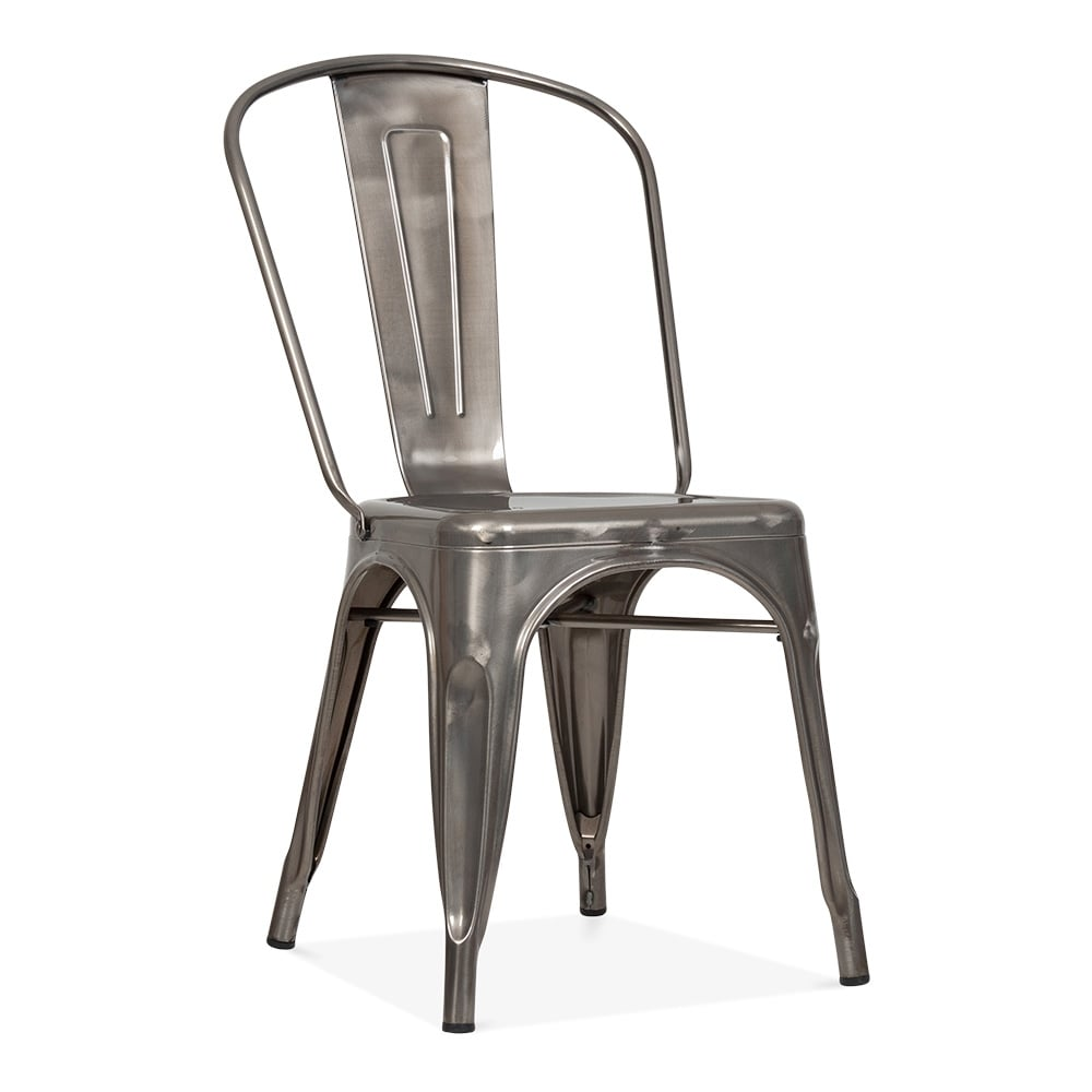 Tolix style gunmetal steel industrial side chair cult for Chaise fer et bois