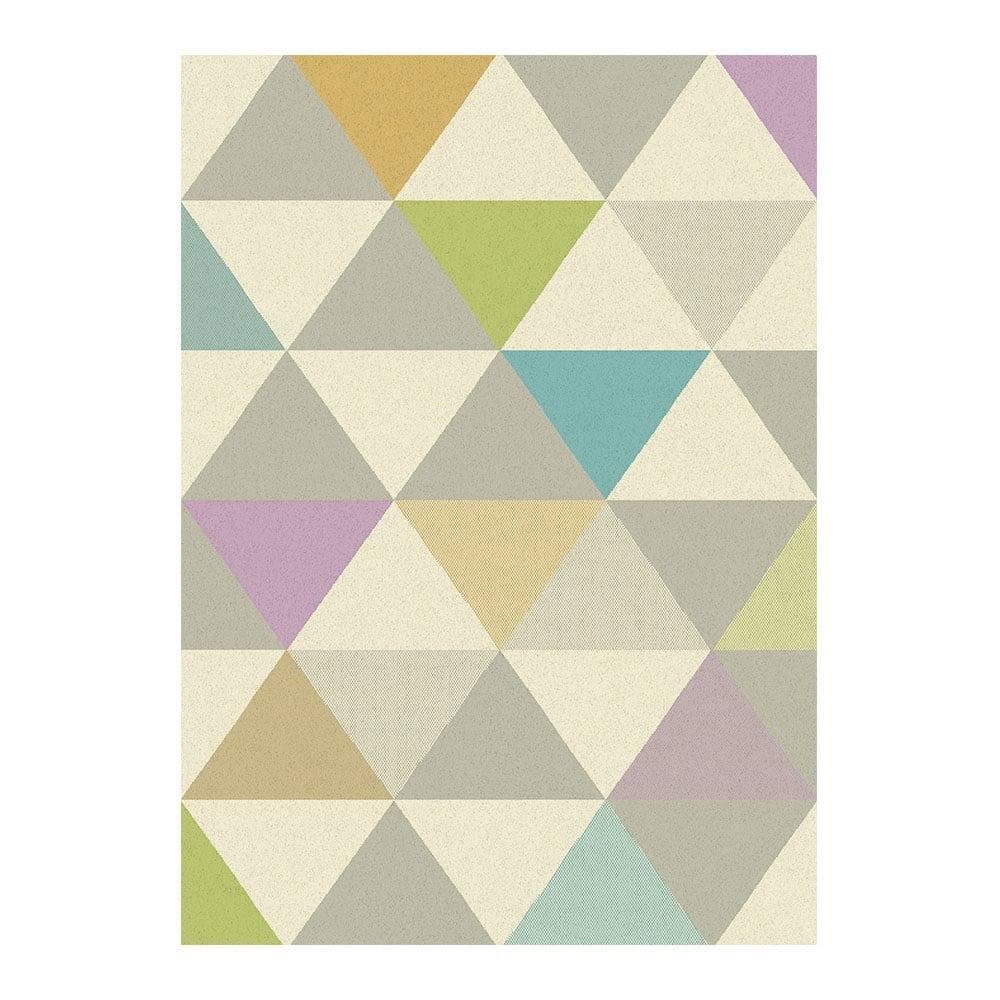 Multi Coloured Triangles 100 Polypropylene Rug Modern