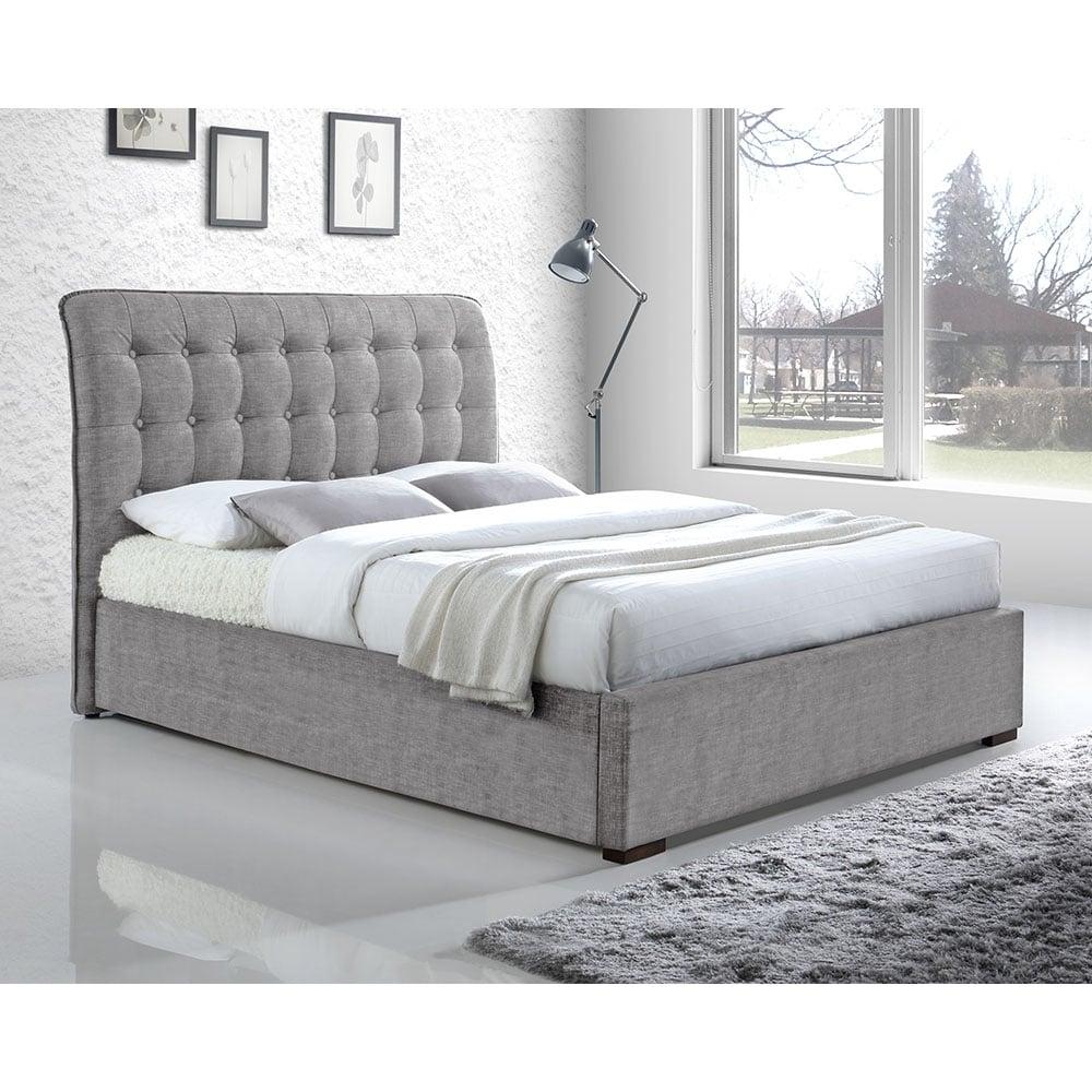 Light grey button back upholstered super king bed modern for Contemporary super king bed