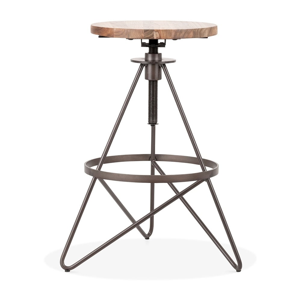 Rustic Hendrix Metal Swivel Bar Stool 61 75cm Modern Bar