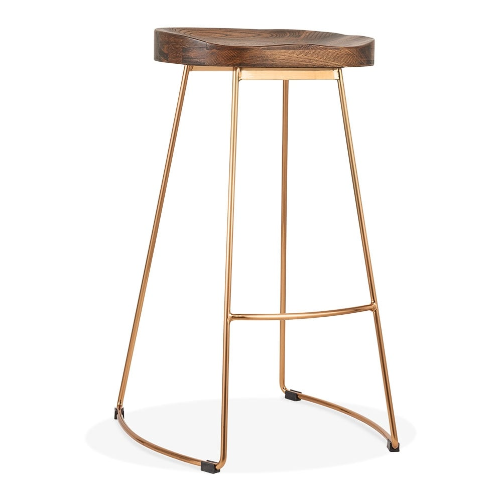 Brass 75cm Victoria High Stool Metal Bar Solid Elm Wood