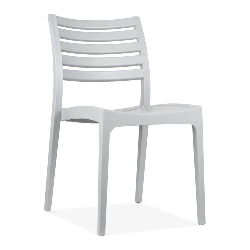 Grey venice plastic outdoor dining chair patio garden for Plastic outdoor furniture