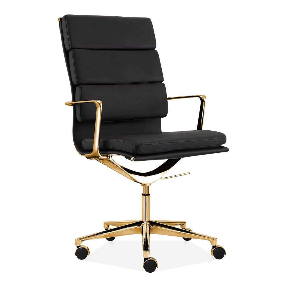 Cult living black and gold high back soft pad office chair for Chaise eames bureau