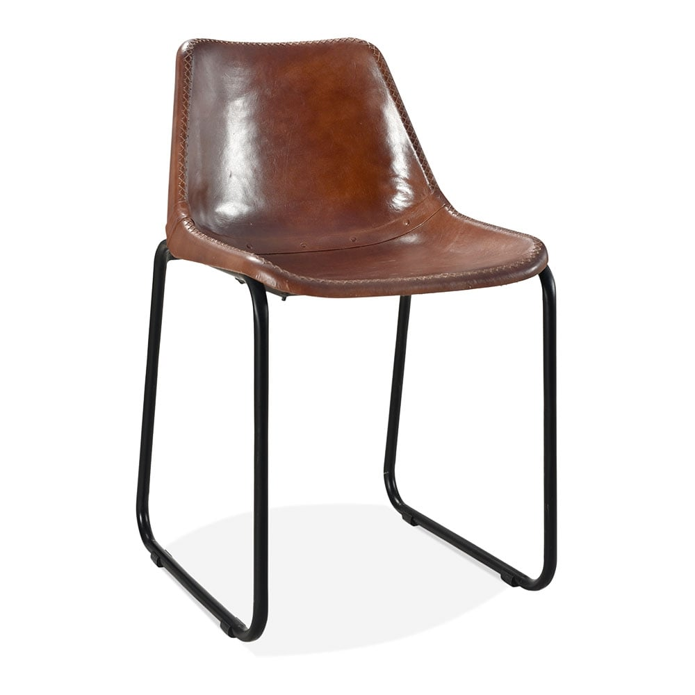 Brown leather maxwell metal dining chair industrial for Metal design chair