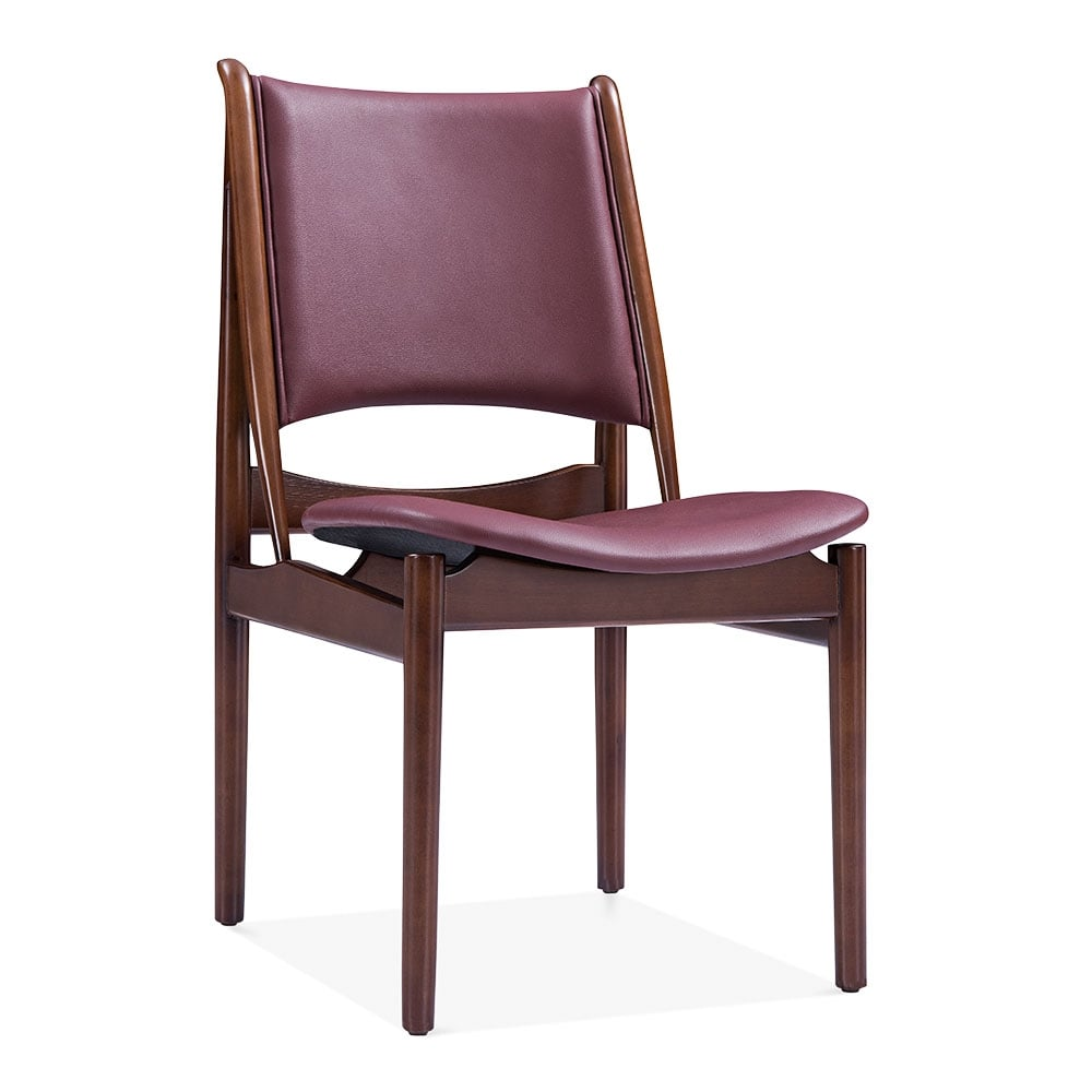Deep red faux leather jonah dining chair kitchen chairs for Wood dining chairs with leather seats