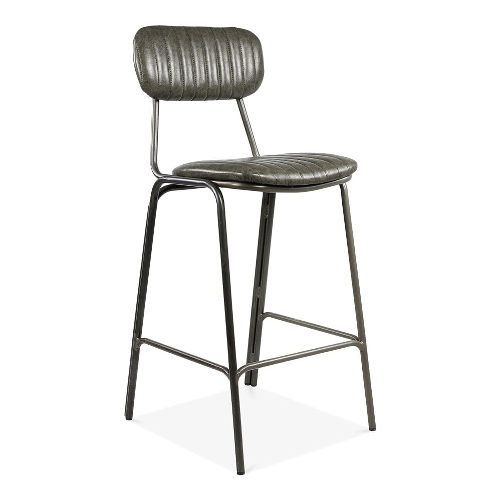 Cult Living Mila Metal Bar Chair Faux Leather Upholstered Seat Dark Grey 75cm  sc 1 st  Cult Furniture & Dark Grey Leather Upholstered Mila Bar Chair | Modern Bar Stools islam-shia.org