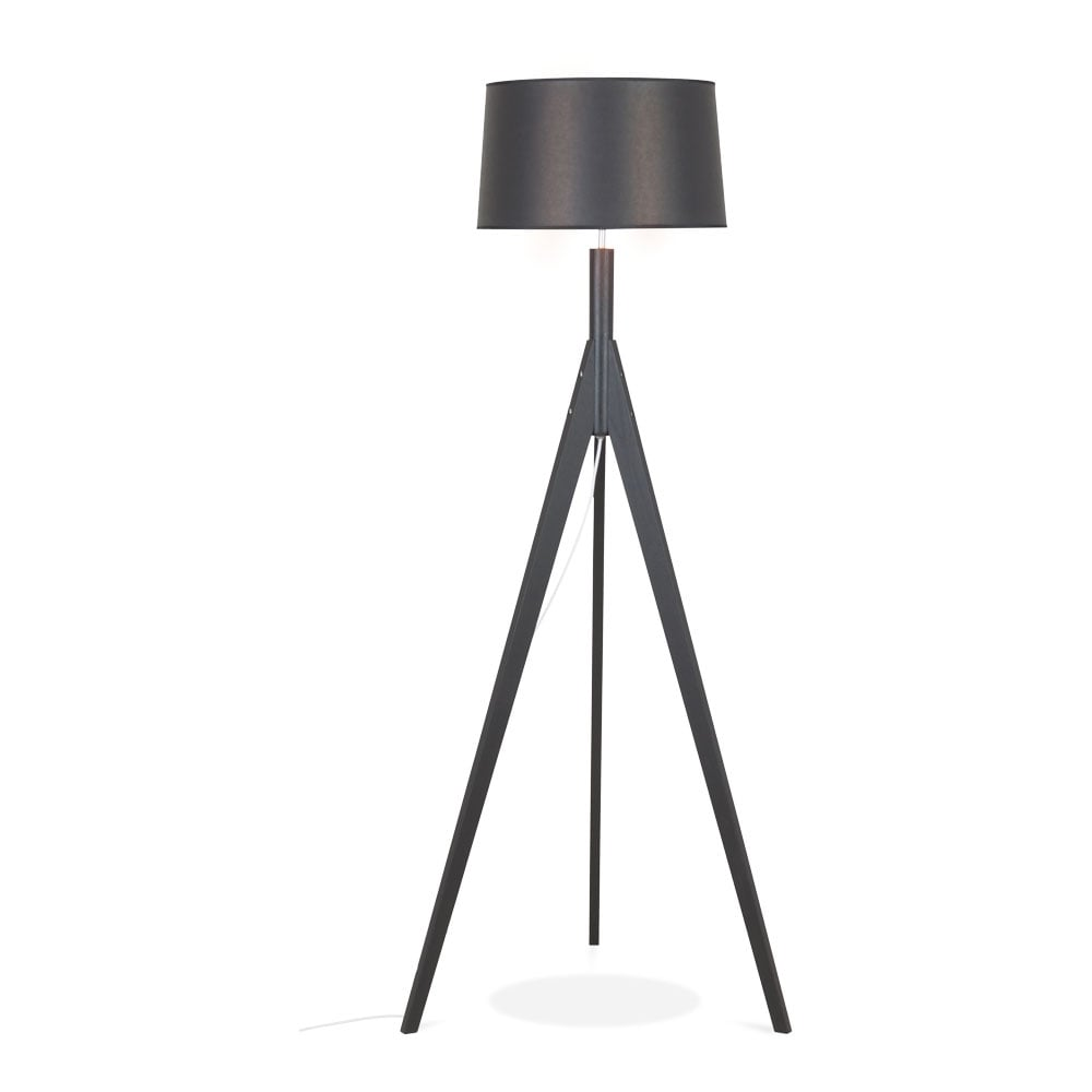 Black Solid Wood Cleo Tripod Floor Lamp Living Room Lighting