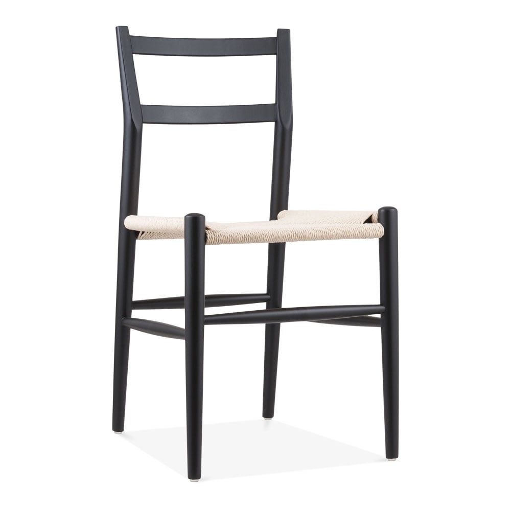 Leon wooden dining chair with woven seat black cult uk for Wooden dining chair designs