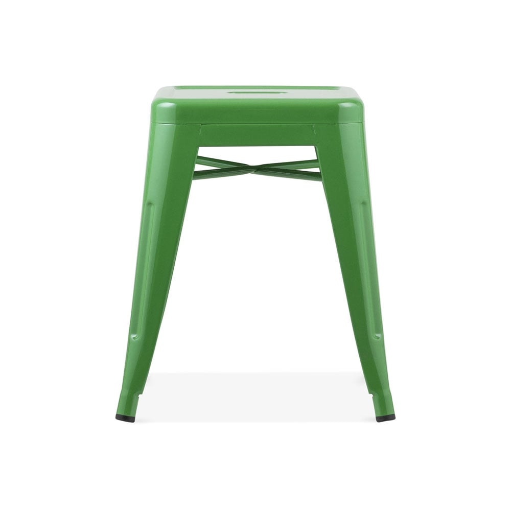 Delightful Xavier Pauchard Tolix Style Metal Low Stool   Green 45cm. U2039