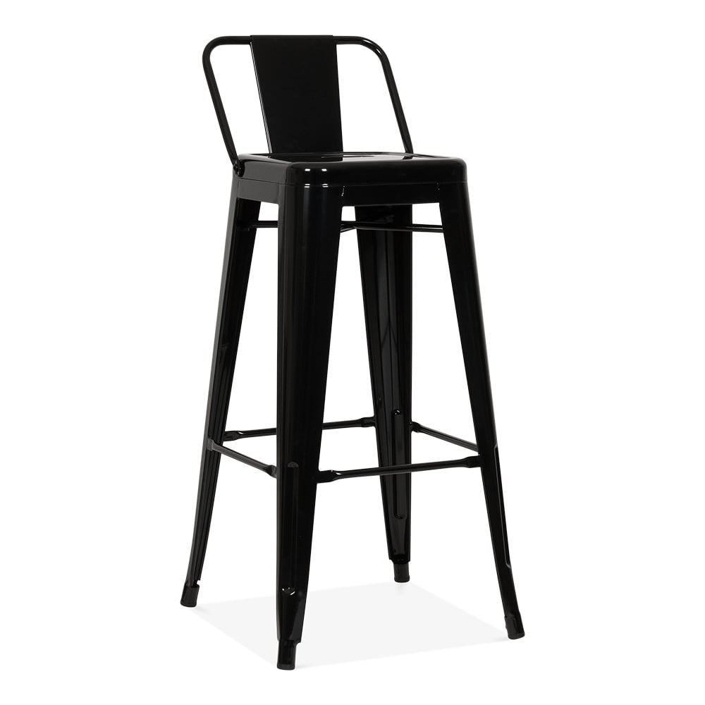 tolix style metal bar stool with low back rest black 75cm. Black Bedroom Furniture Sets. Home Design Ideas