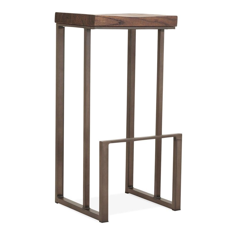 rustic 76cm sling square metal bar stool with dark brown seat bar seating. Black Bedroom Furniture Sets. Home Design Ideas