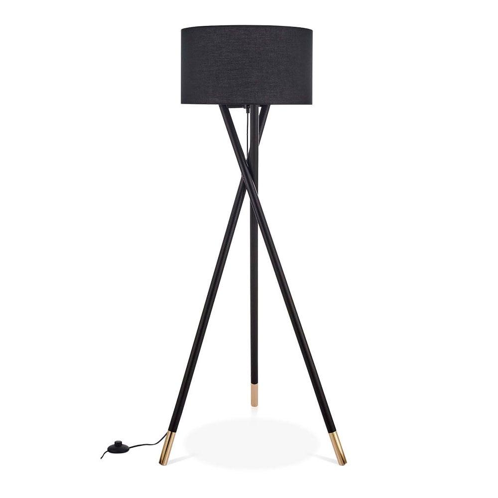 Black & Gold Albany Wooden Tripod Floor Lamp | Modern Lighting