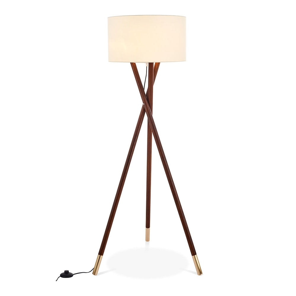 Walnut finish albany wooden tripod floor lamp modern for Wooden tripod floor lamp ireland