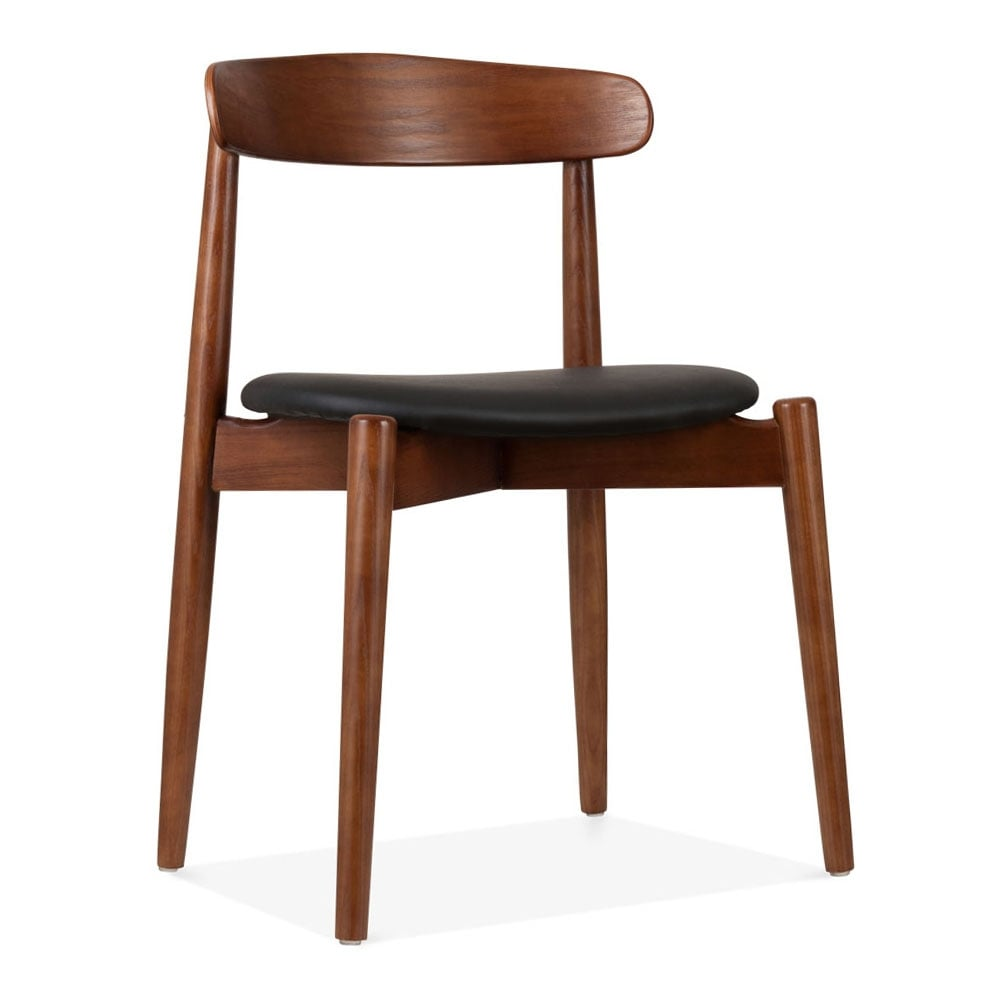 Cult Design Walnut wood Concept Dining Chair with Black faux leather seat Cult UK # Chaise Design Bois