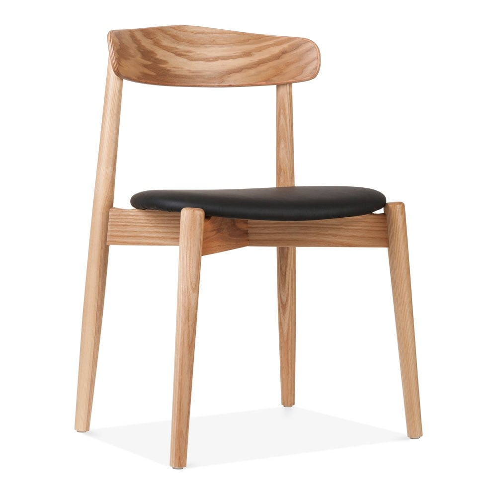 Cult design natural wood concept dining chair with black leather seat - Cult furniture ...