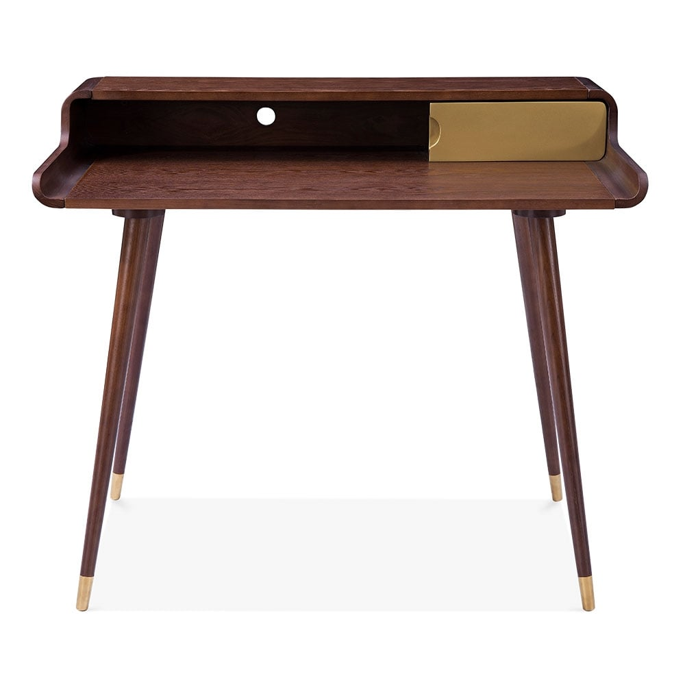 Brown And Gold Astrid Wooden Desk Office Furniture