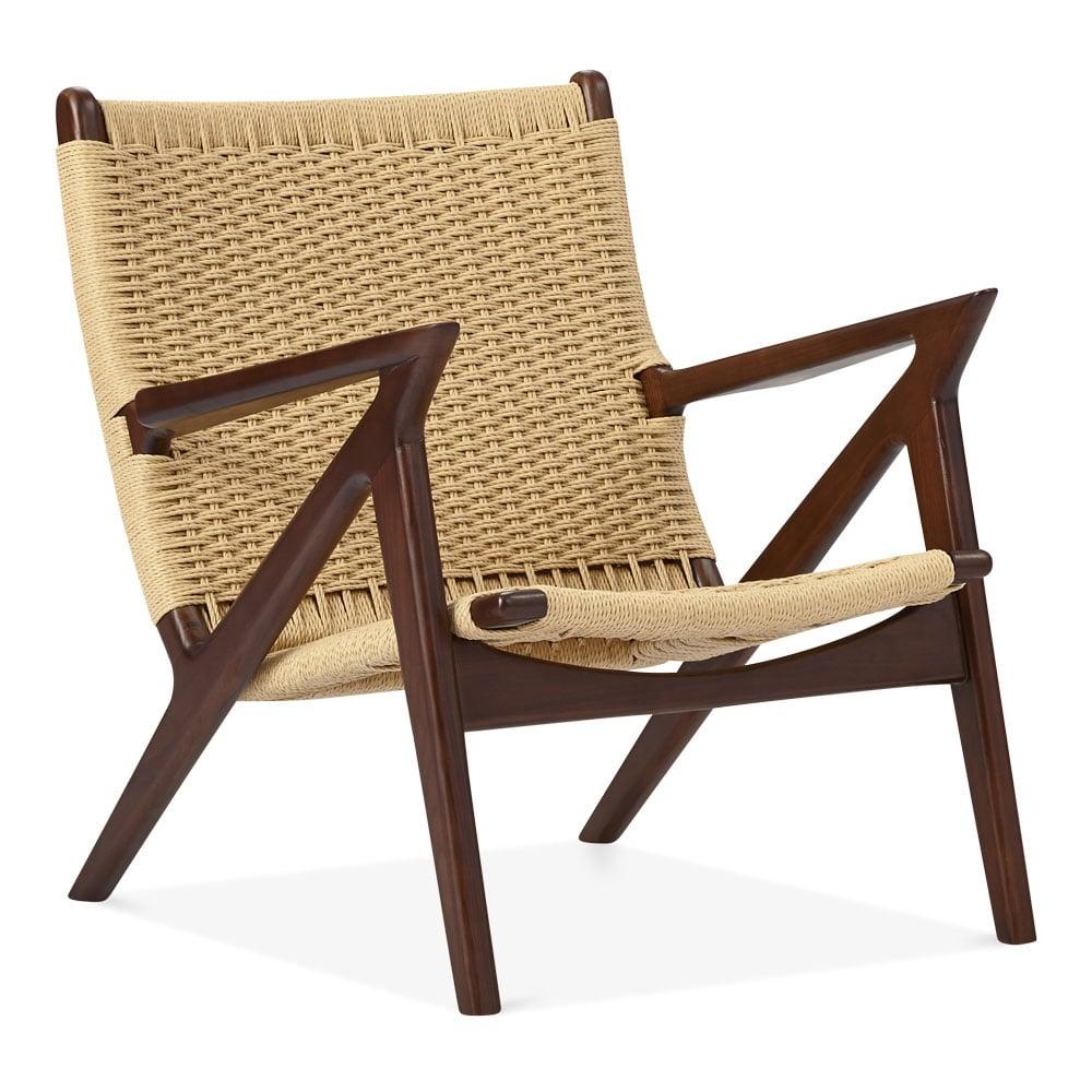 Walnut wood dane lounge chair woven seat designer armchairs for Dane design furniture