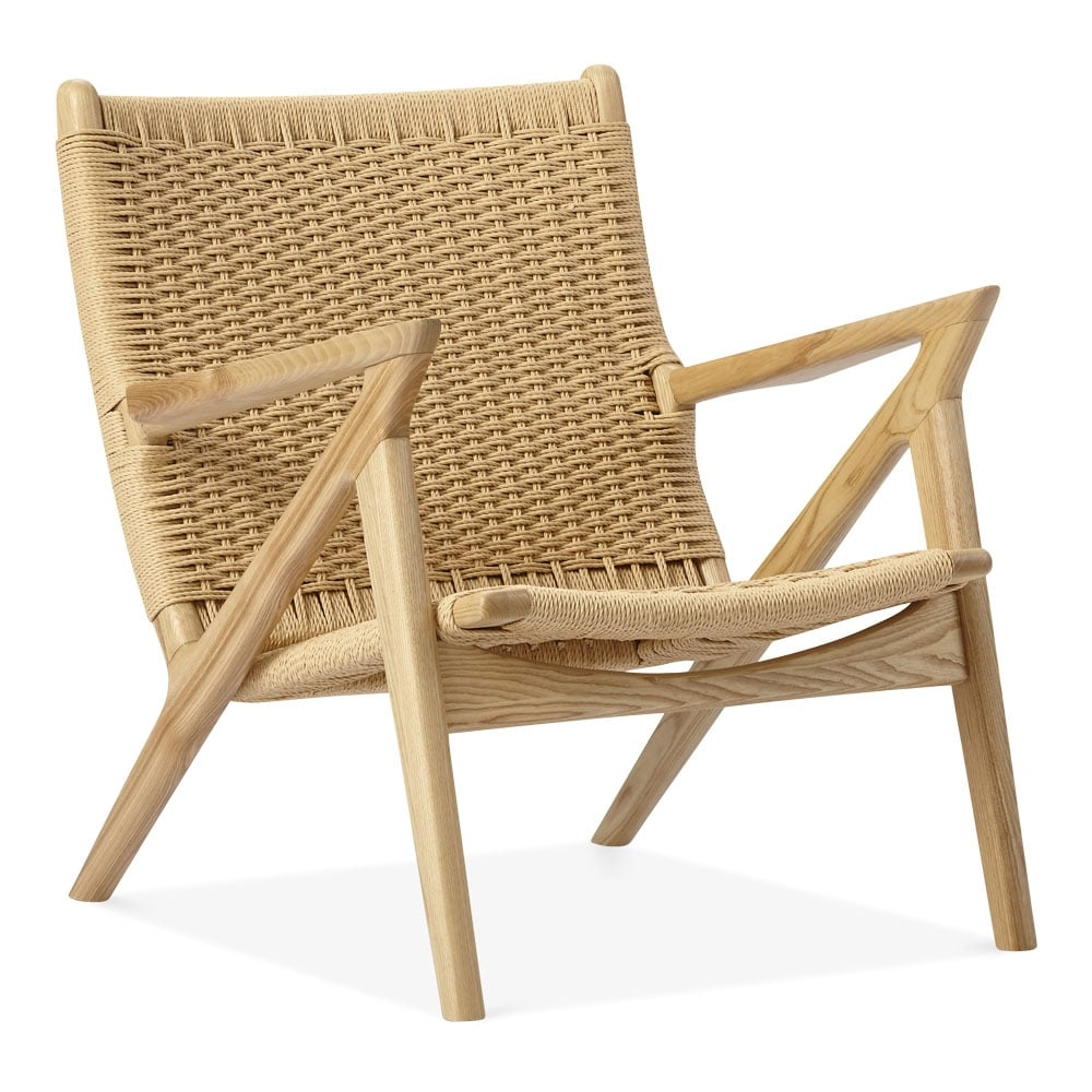 Natural Wood Dane Lounge Chair Woven Seat Designer Armchairs