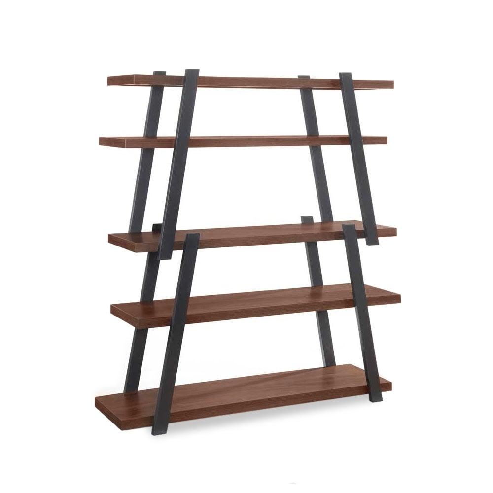 Walnut Gemini Wooden Ladder Bookshelf Modern Shelving Solutions