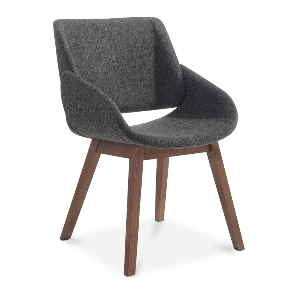 cult living amos wooden dining armchair fabric upholstered dark grey