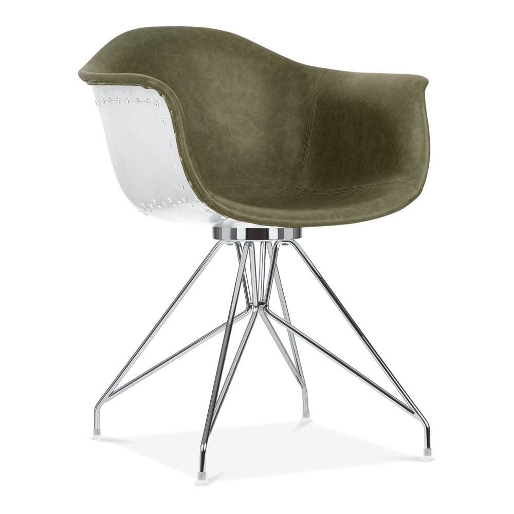 Moda aviator dining armchair cd1 green faux leather cult for Moda vintage