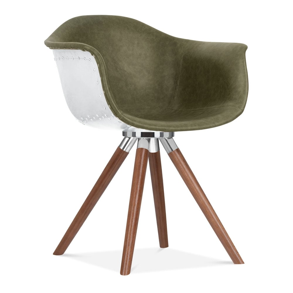 Moda Aviator Dining Armchair CD2 Green Faux Leather Cult