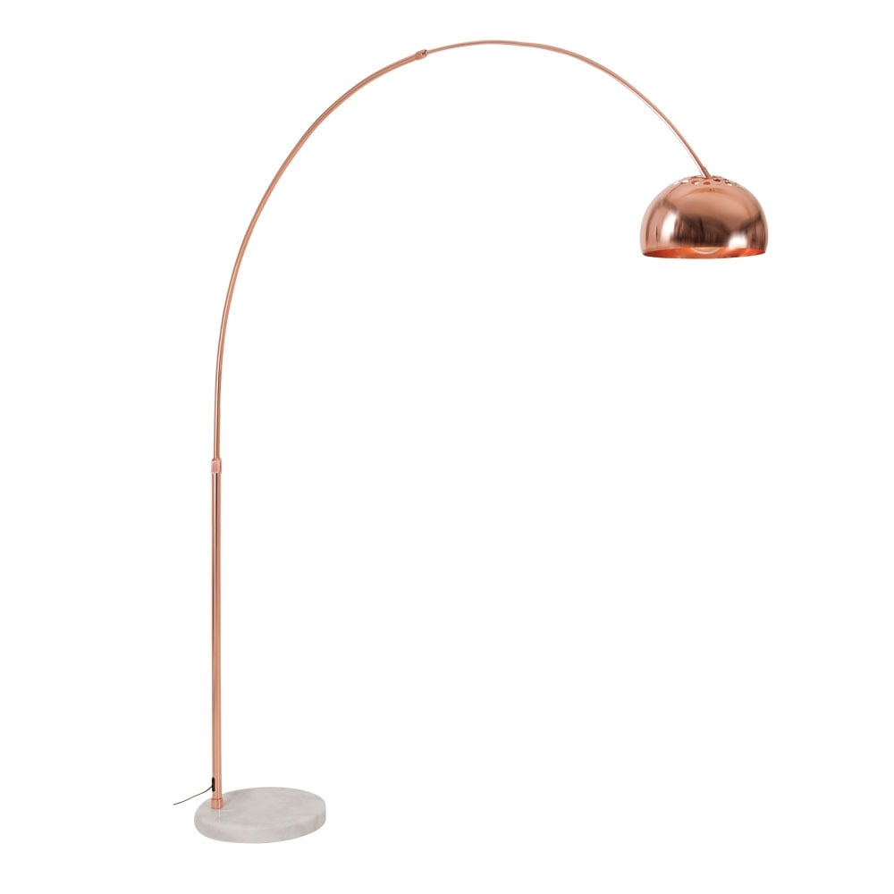 Cult Living Arc Metal Floor Lamp, Marble Base, Copper. U2039