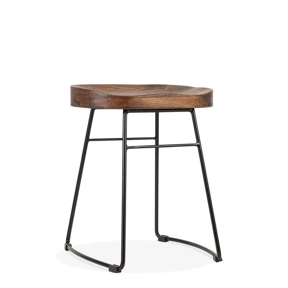Black 45cm Victoria Low Stool With Elm Wood Bar