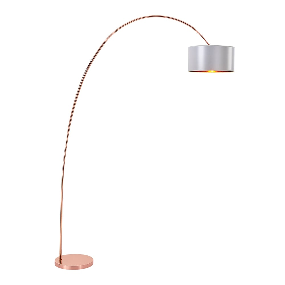 Copper cream reno arc floor lamp contemporary lighting for Arc floor lamp with copper shade