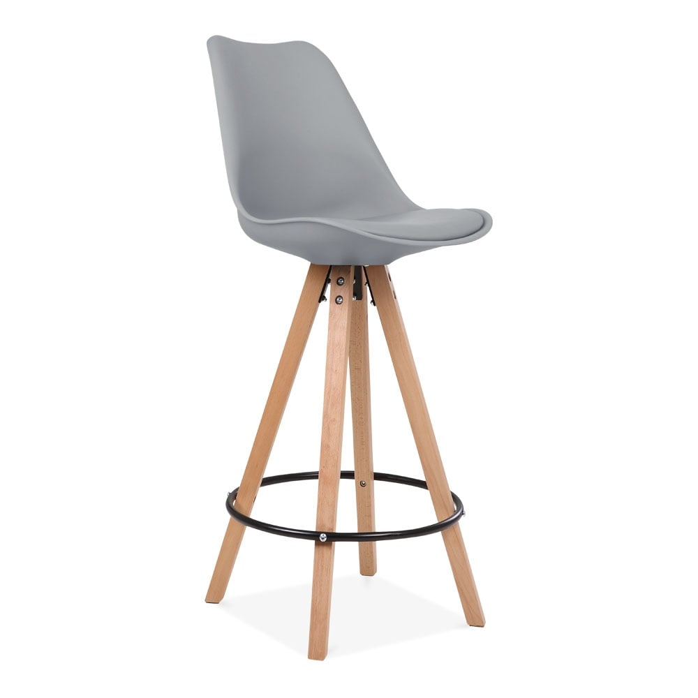 Eames Inspired Soft Pad Bar Stool With Backrest, Pyramid Natural Wood Leg,  Cool Grey