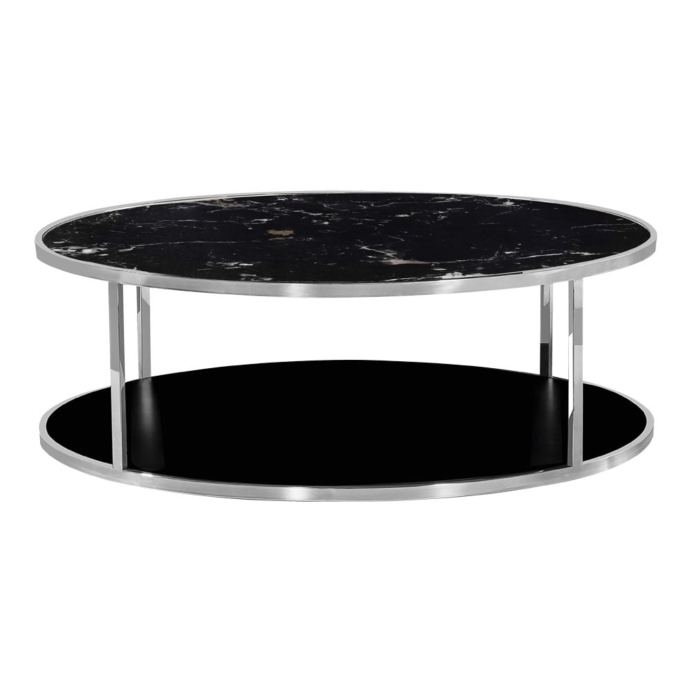 Chrome Luxor Coffee Table Black Marble Top | Coffee Tables