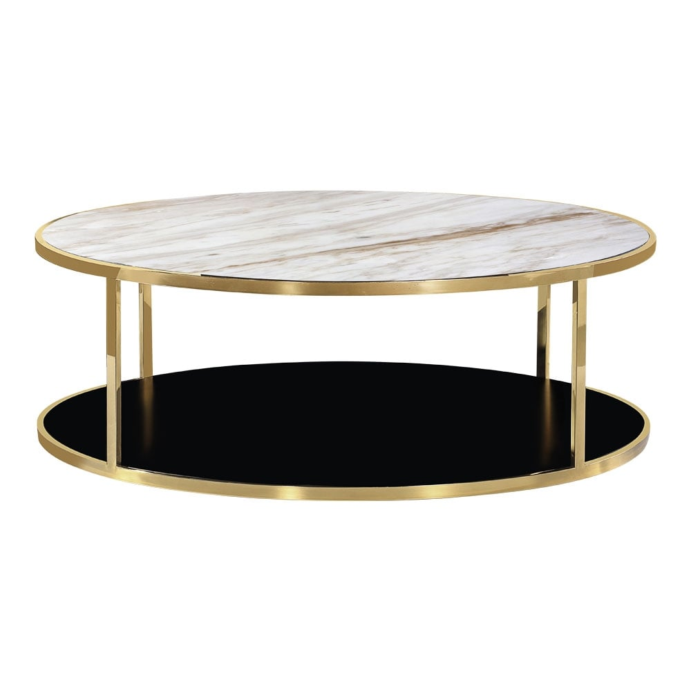 White Marble Coffee Table Set: Gold Luxor Coffee Table White Marble Top