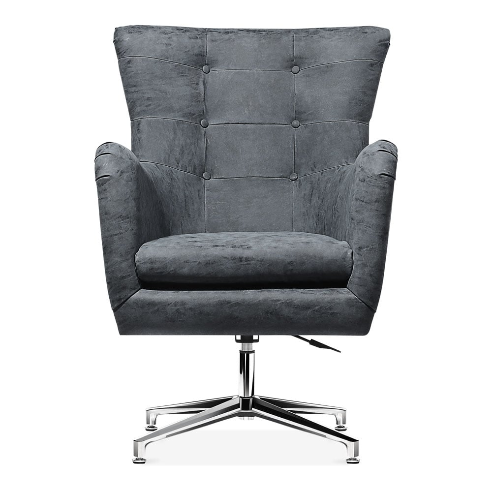 Grey Faux Leather Upholstered Walter Lounge Chair Swivel