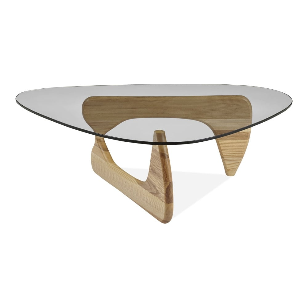 Century Glass Top Coffee Table Ash Wood In Natural