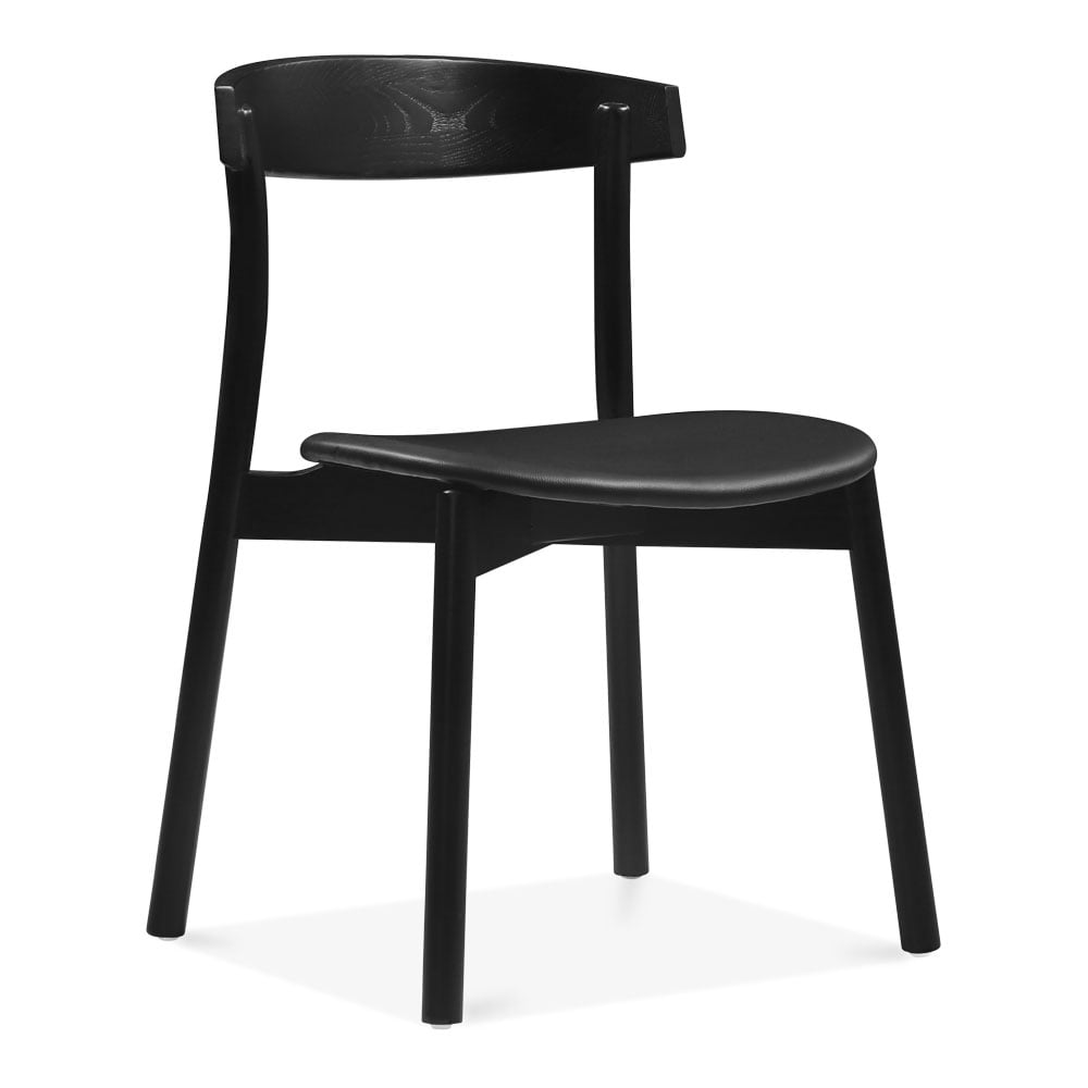 Cult design black fern wooden dining chair with pu seat for Wood dining chairs with leather seats