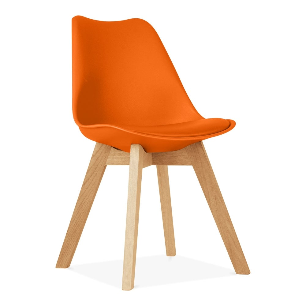 Orange dining chair with solid oak crossed wood legs