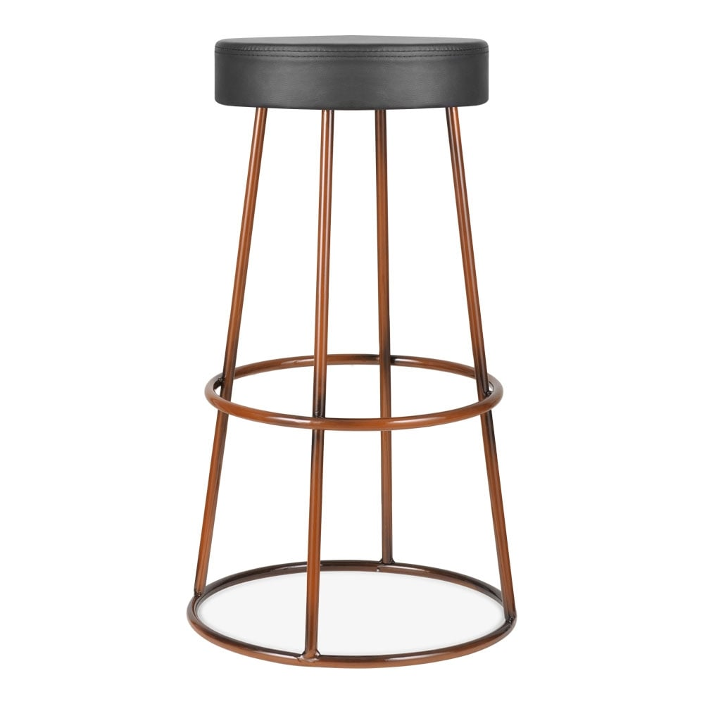 Copper Metal Truss Bar Stool With Upholstered Seat Modern Bar Stools
