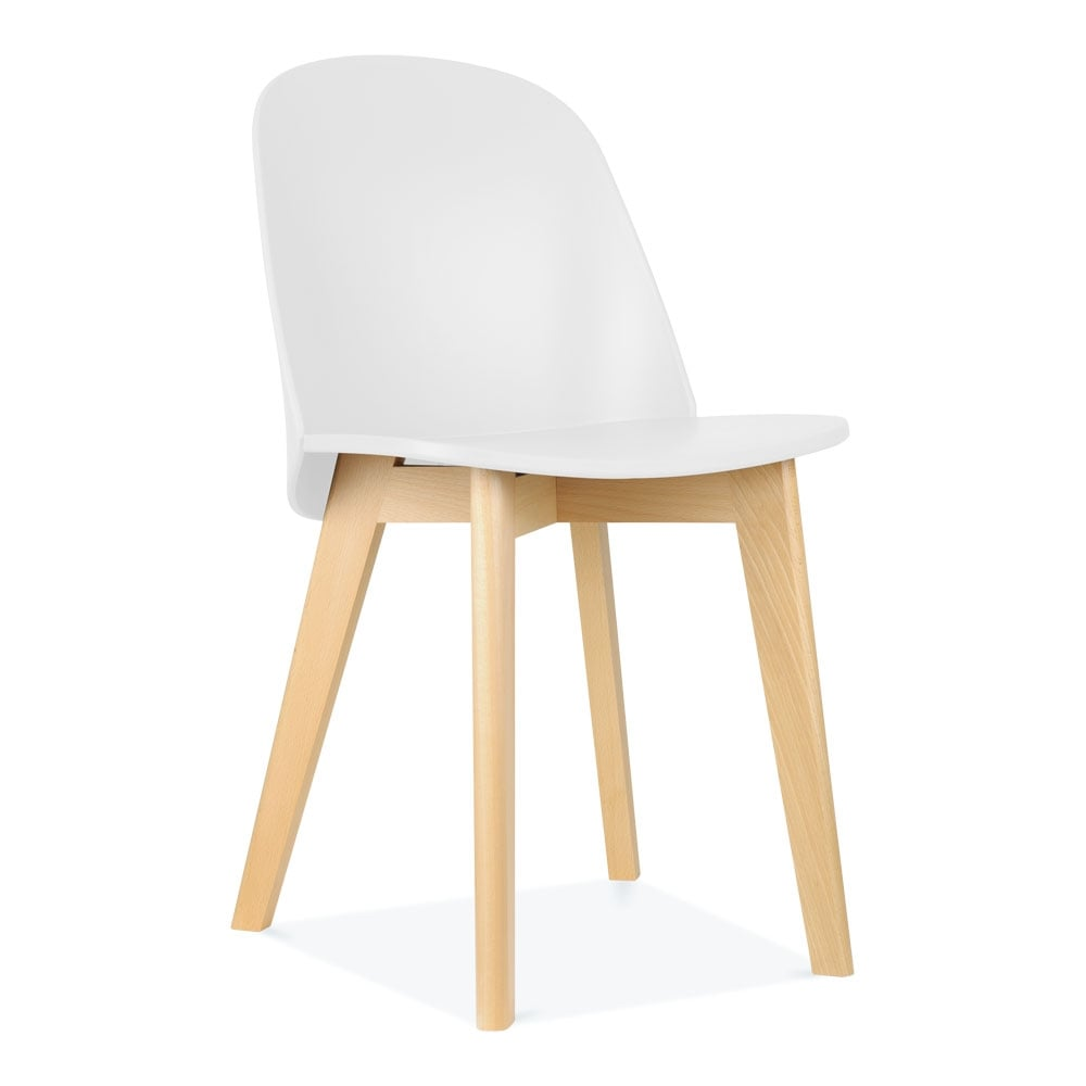 White Dilla Wooden Dining Chair Mid Century Dining Furniture