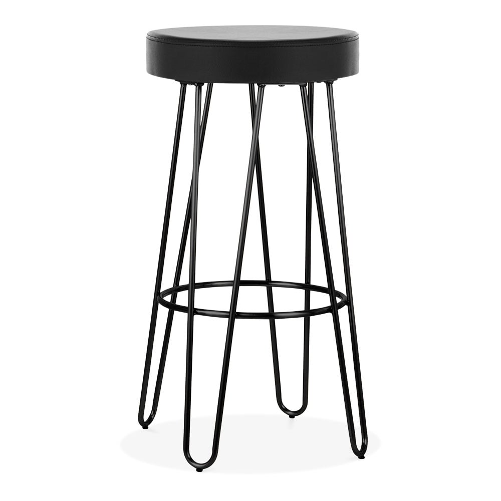 black 75cm hairpin metal bar stool faux leather upholstered cult uk. Black Bedroom Furniture Sets. Home Design Ideas