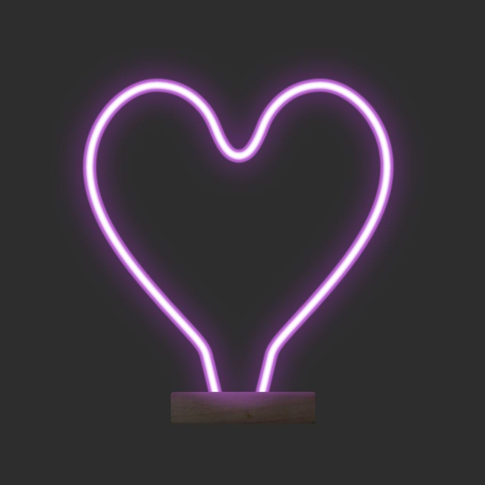 pink heart shape neon light led table lamp modern table lamps. Black Bedroom Furniture Sets. Home Design Ideas