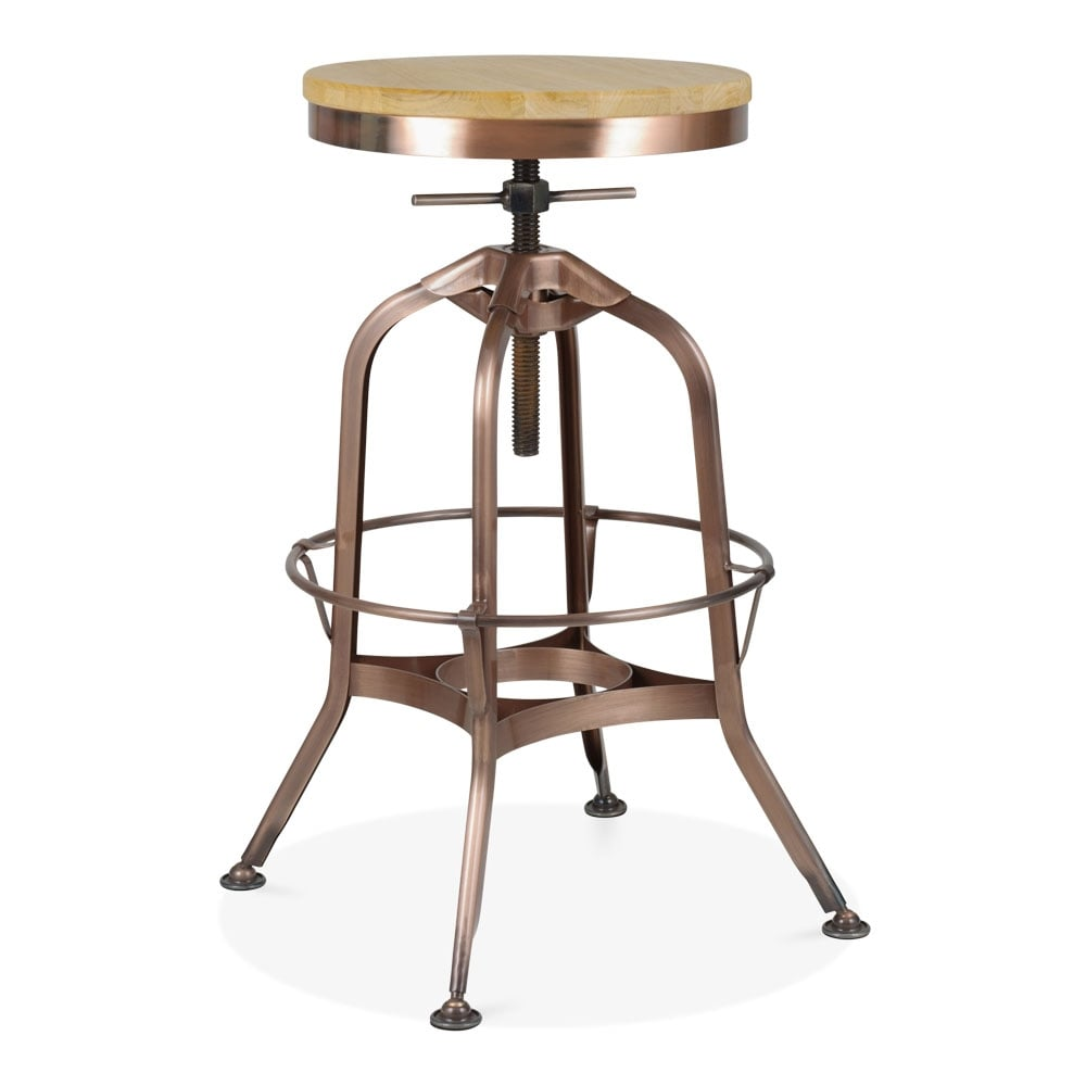 Toledo Style Pump Action Round Stool, Solid Oak Seat, Light Copper 64 74cm  ...