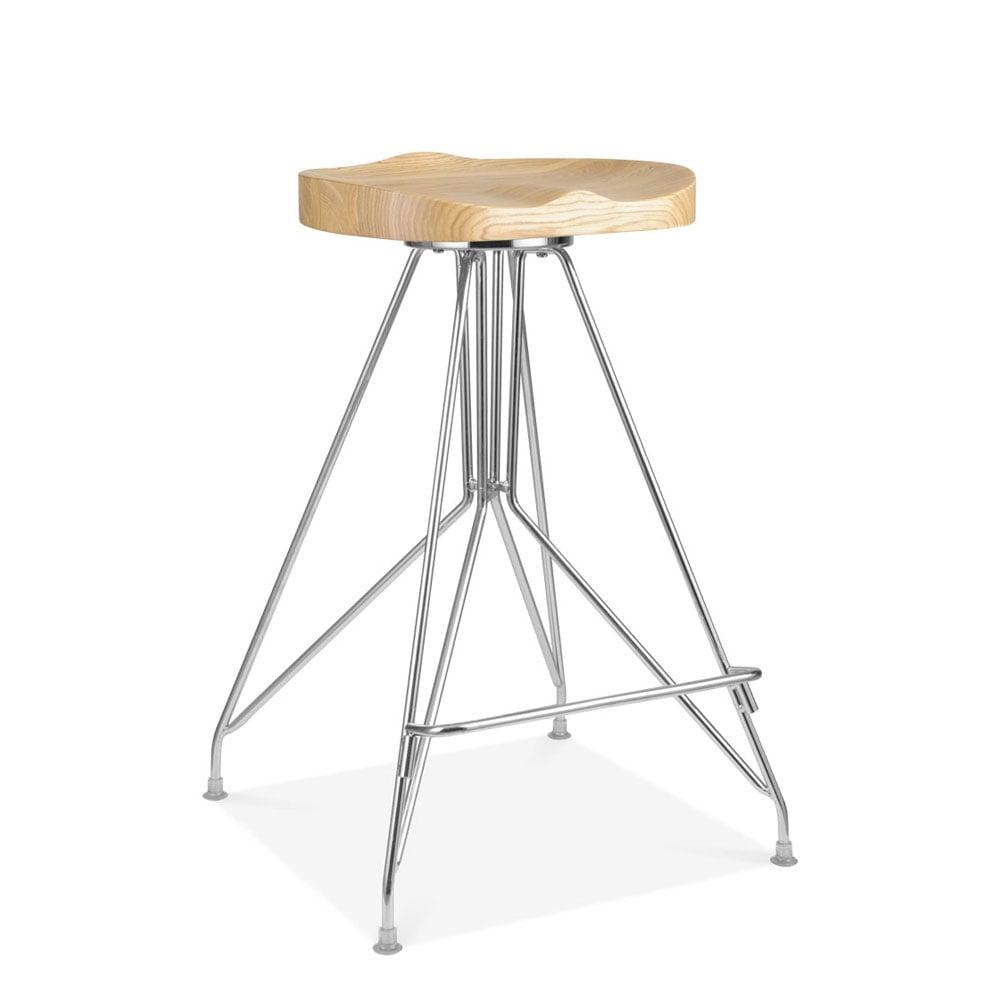 Classic Barstools Enhance This Traditional Kitchen: Chrome 66cm Moda CD1 Bar Stool Solid Ash Wood Seat