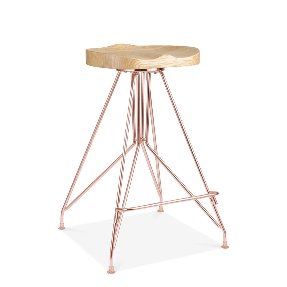 New Copper Metal Wood Counter Stool Kitchen Dining Bar: Copper 66cm Moda CD1 Bar Stool Solid Ash Wood Seat
