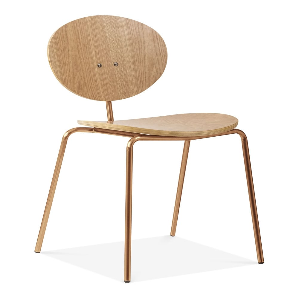 Brass metal and oak roma dining chair modern dining for Natural wood dining chairs