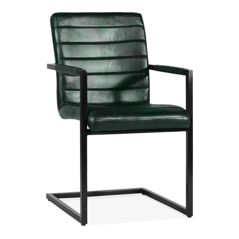 Green Leather Upholstered Bristol Dining Chair Modern