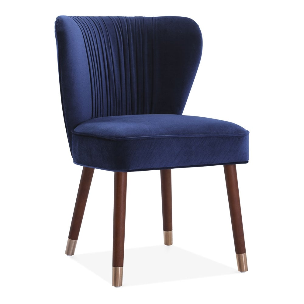 Blue Velvet Side Accent Chair With Back Ring: Blue Velvet Upholstered Noa Accent Chair