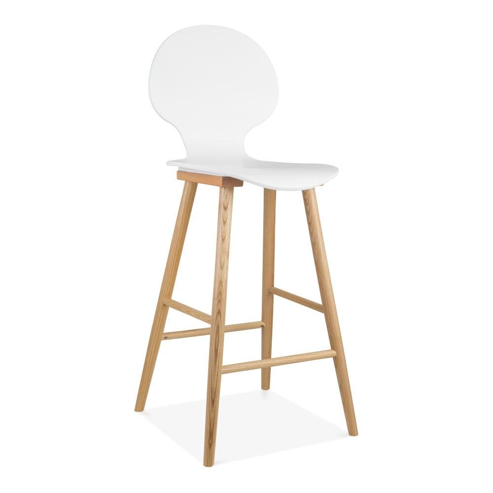 White Fletcher Wooden Bar Chair 75cm