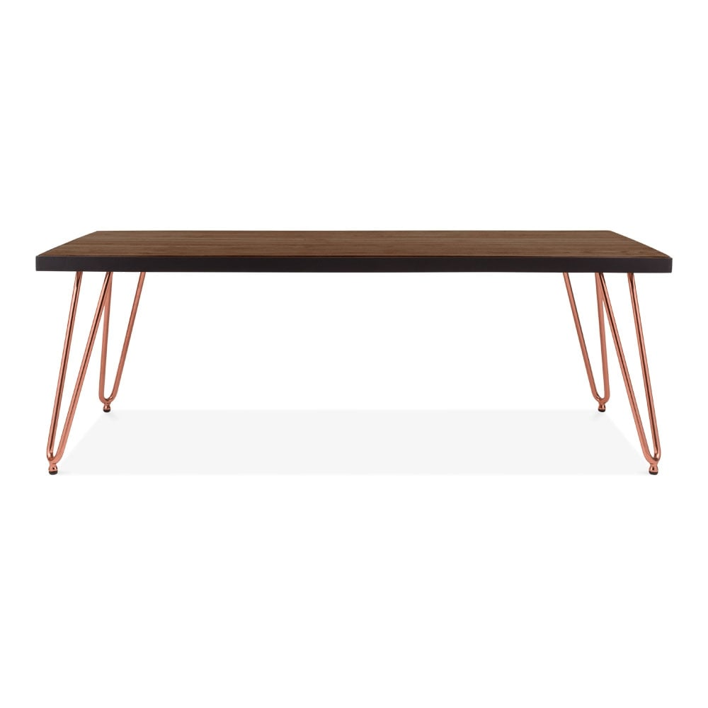 Copper 122cm Hairpin Rectangular Coffee Table With Solid
