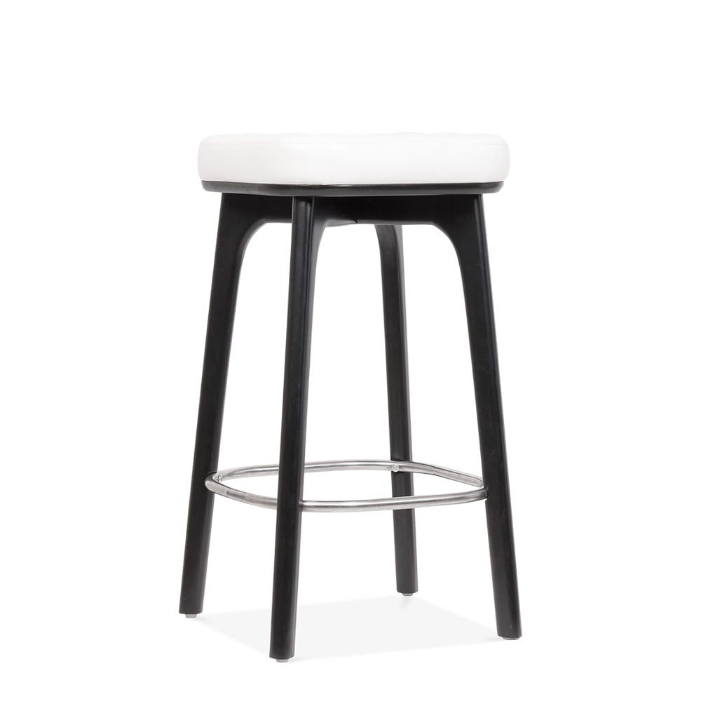 winchester upholstered wooden bar stool white black 65cm cult uk. Black Bedroom Furniture Sets. Home Design Ideas